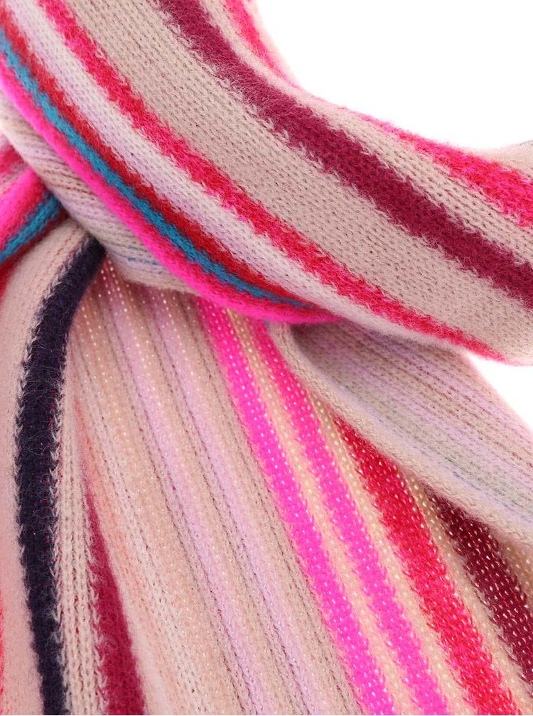 Fraas Șal de damă din lână cu dungi roz - Bej