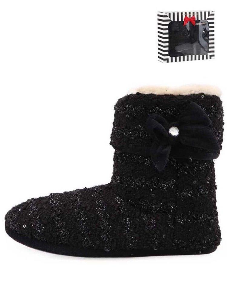 Čierne trblietavé pletené papuče s mašľou Something Special by Moon