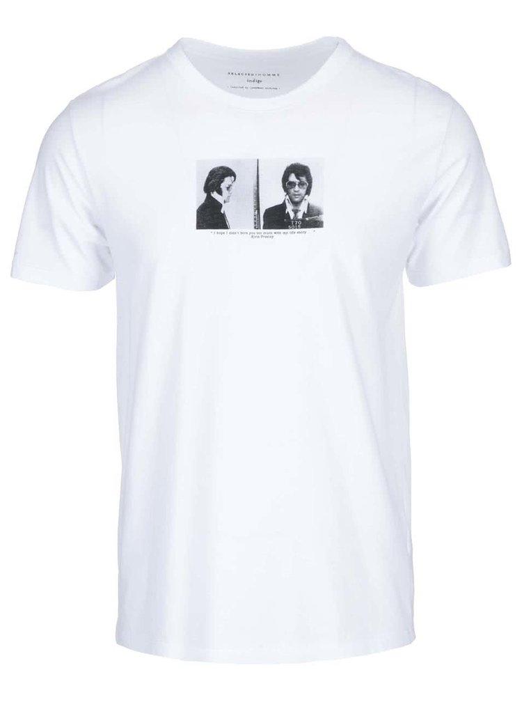 Biele tričko s potlačou Selected Elvis