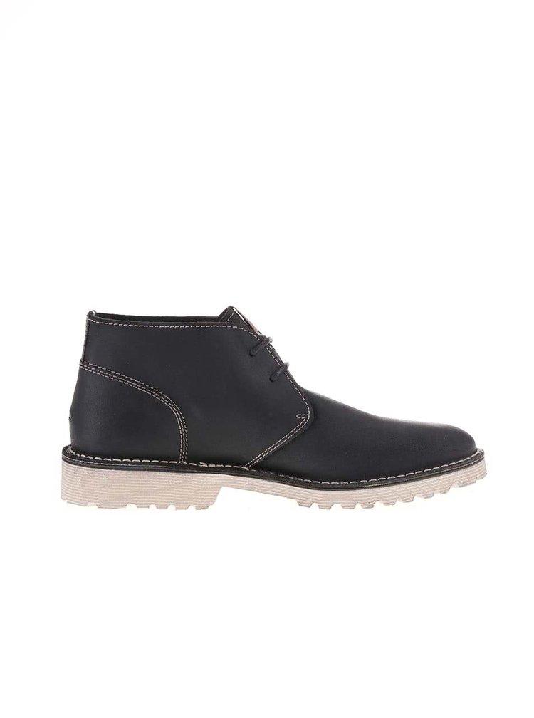 Černé pánské kožené kotníkové boty Tommy Hilfiger Moh