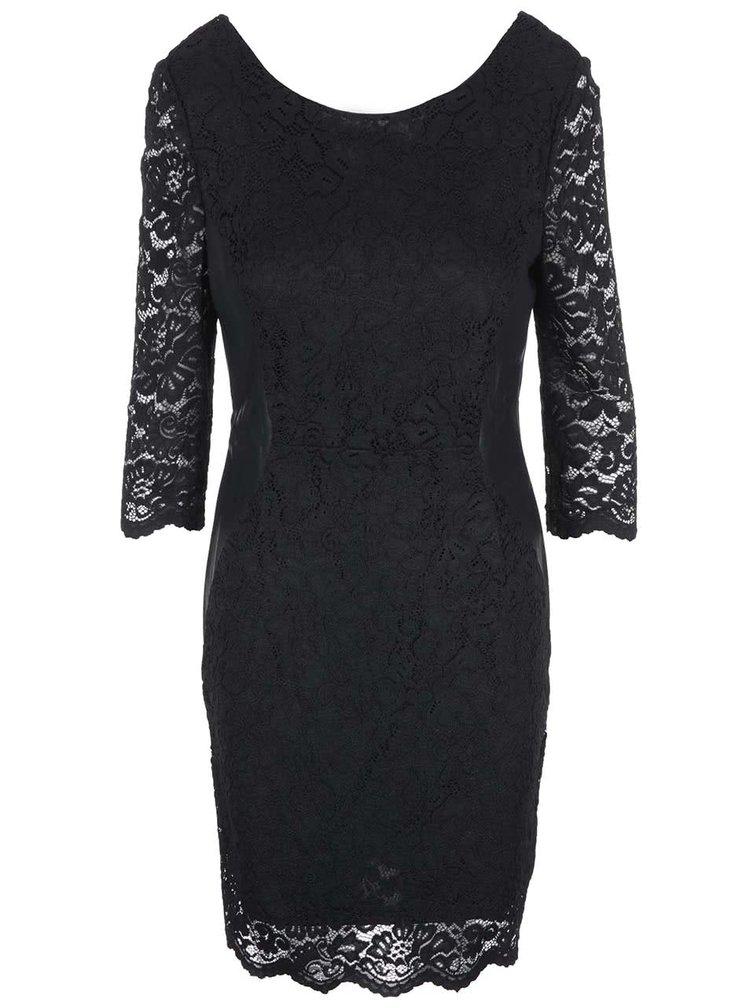 Čierne čipkované šaty s 3/4 rukávmi VERO MODA Garden