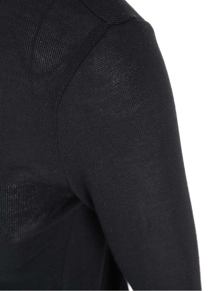 Černé tričko s ozdobnými zipy VERO MODA Tessa