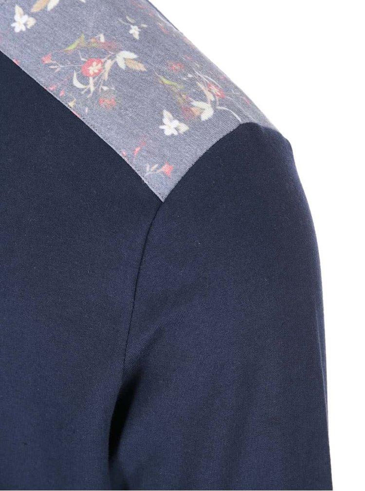 Tmavomodrá mikina s kvetovanými detailmi Bellfield Quaker