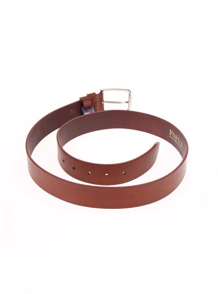 Hnědý hladký kožený pásek Portia