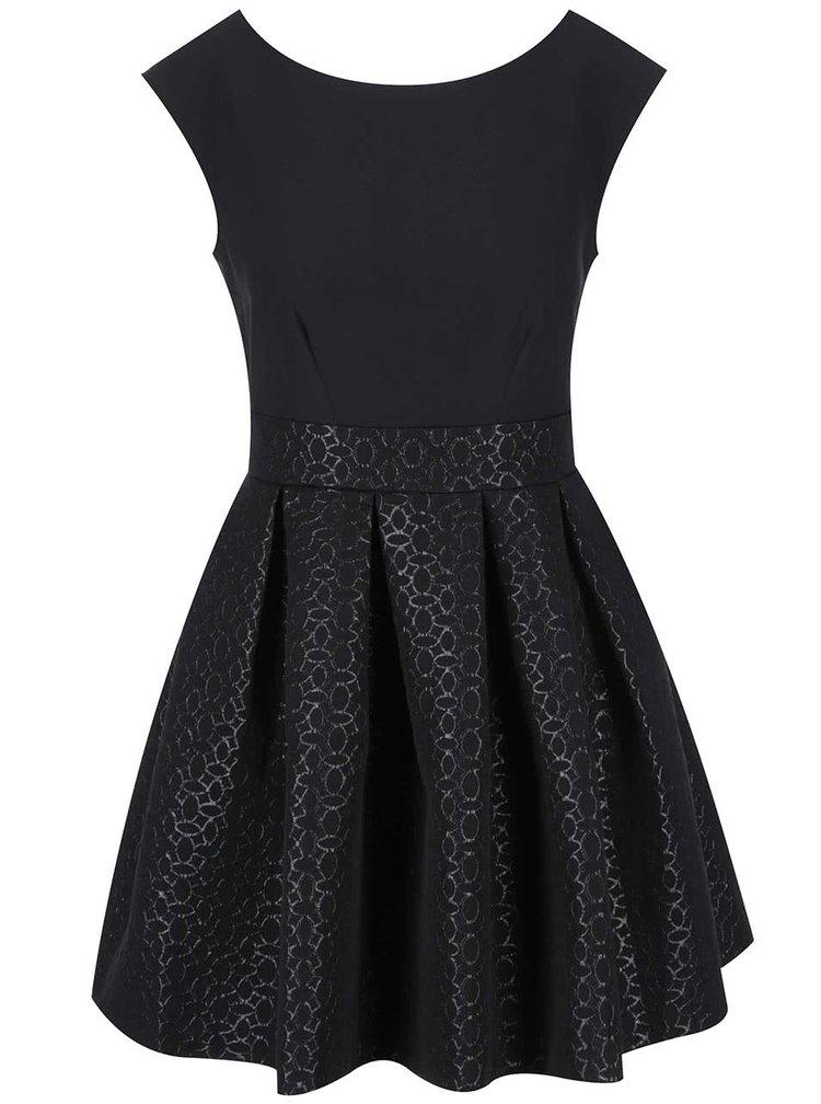Rochie neagră Closet cu fustă cu model