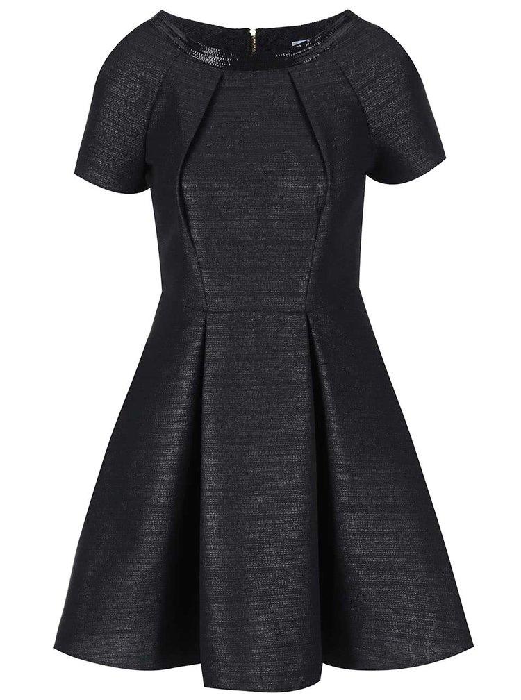 Rochie neagra metalica cu maneca scurta Closet