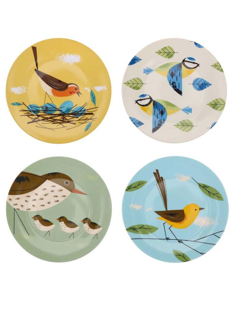 Porcelánová sada čtyř barevných talířů Magpie Birdy