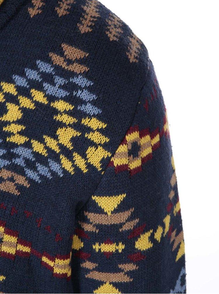 Tmavě modrý kardigan s barevnými vzory Bellfield Delson