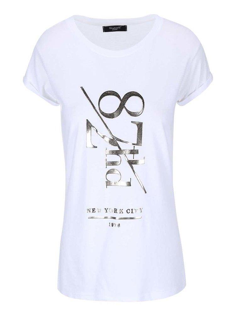 Bílé tričko s potiskem SisterS Point Matt