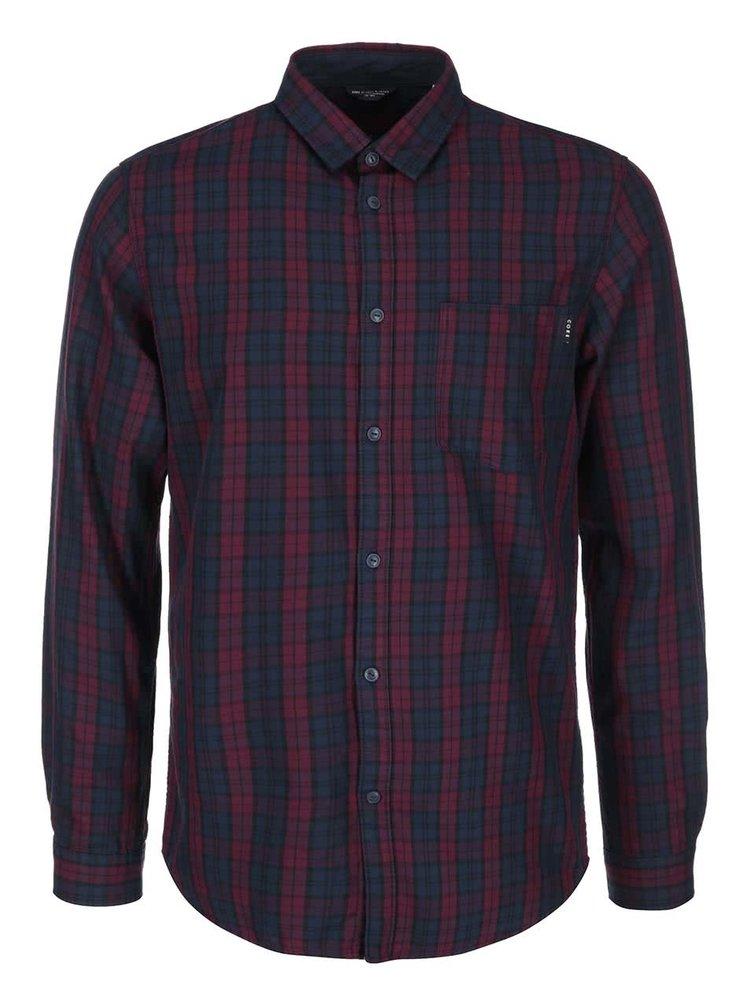 Modro-fialová kostkovaná košile s dlouhým rukávem Jack & Jones Codeep