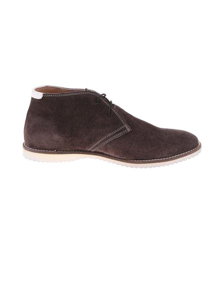 Tmavohnedé kožené členkové topánky so semišovou úpravou Dice Cosper