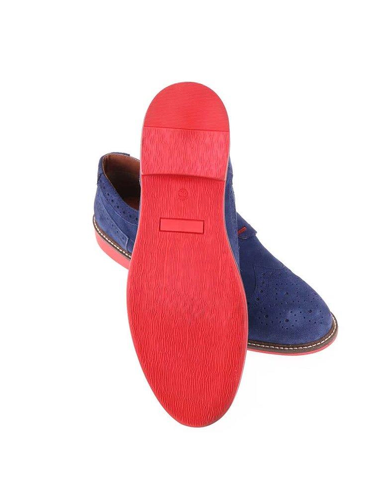 Modré kožené polobotky s červenou podrážkou Dice Beckworth
