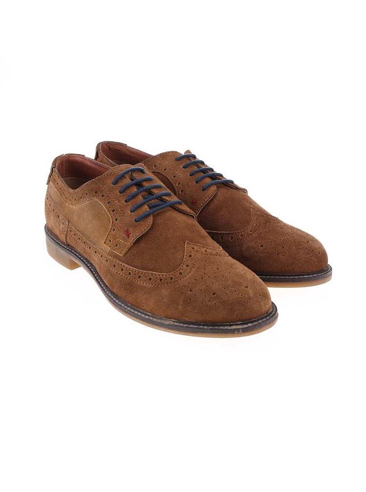 Pantofi Derby din piele intoarsa Dice Beckworth - maro cu talpa maro