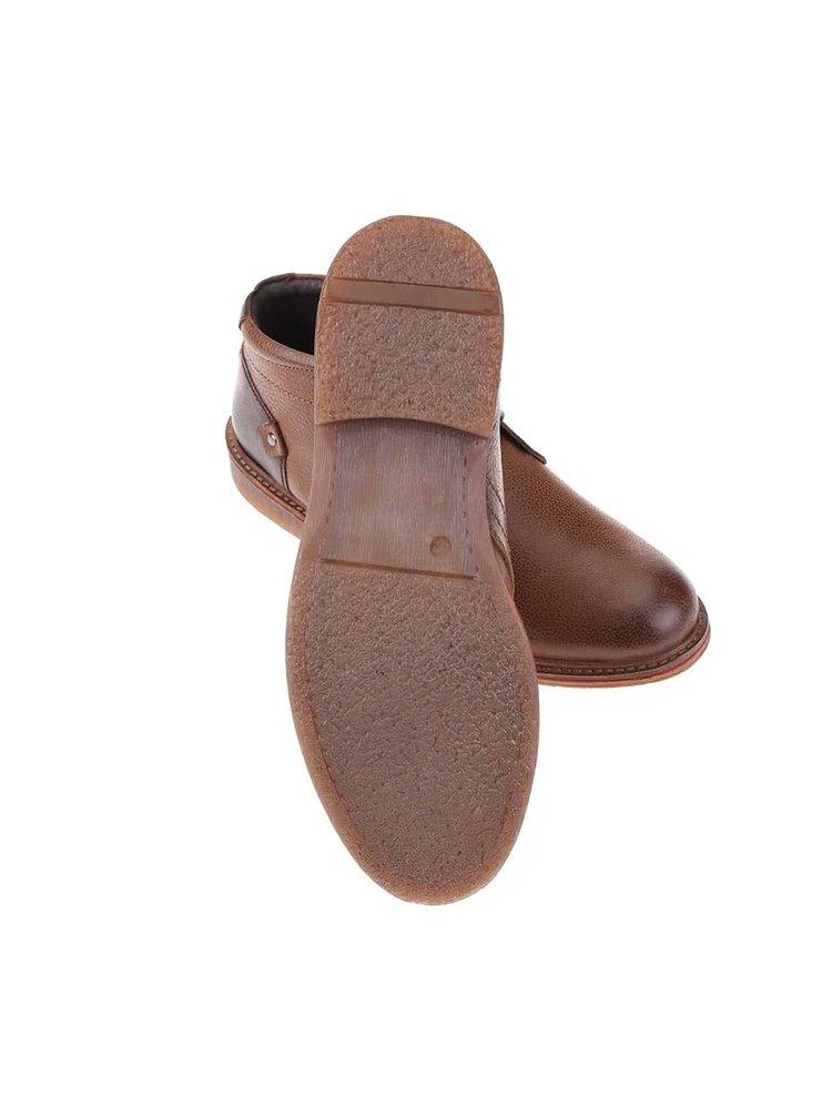 Hnědé kožené kotníkové boty Dice Reece