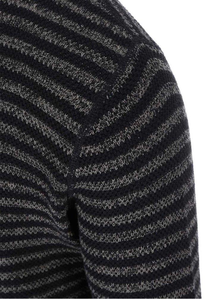 Sivo-čierny pruhovaný sveter Selected Homme Noise