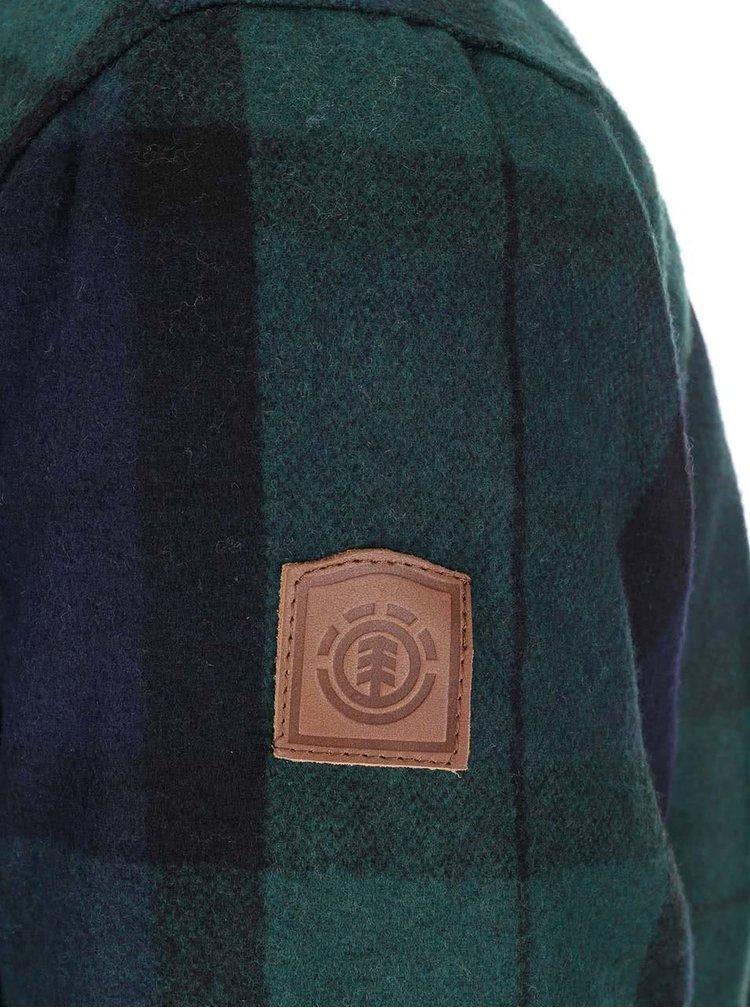 Modro-zelená kockovaná zimná bunda s vreckami Element Belton