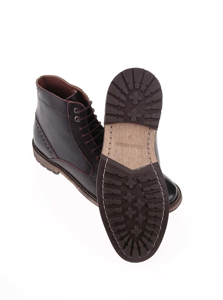 Vínovohnedé kožené členkové topánky Frank Wright Acton