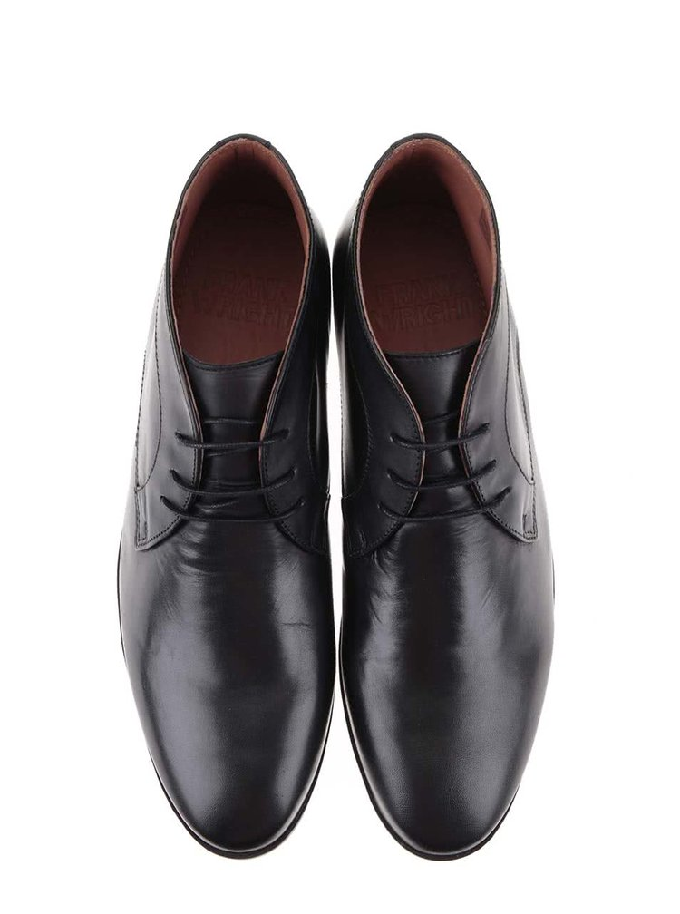 Černé kožené kotníkové boty Frank Wright Reid