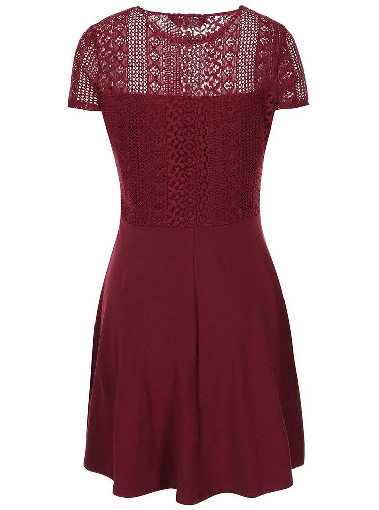 Vínové šaty s krajkovaným topem Dorothy Perkins