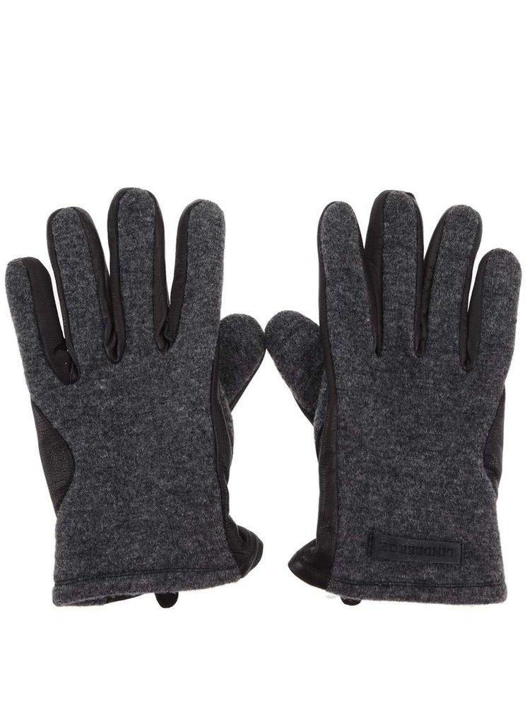 Šedo-černé kožené rukavice Lindbergh