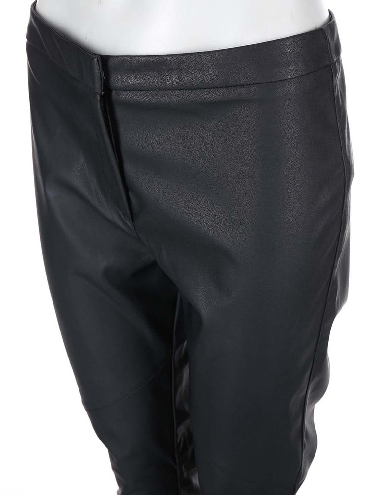 Pantaloni Dorothy Perkins negri din imitatie de piele