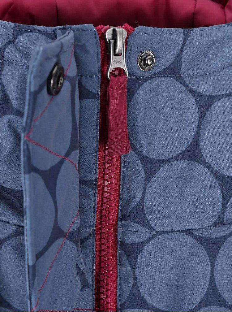 Modrá nepremokavá dlhšia bunda s kapucňou Brakeburn Navy Circles