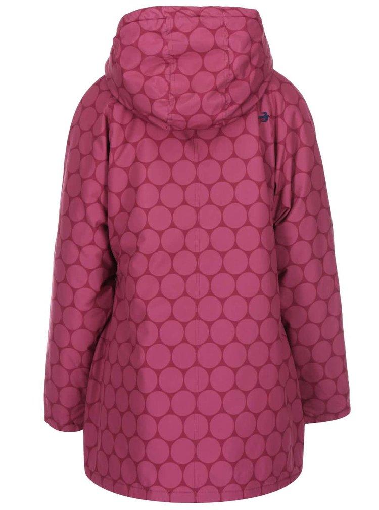Jacheta impermeabila visinie, lunga, cu gluga si imprimeu de cercuri roz Brakeburn