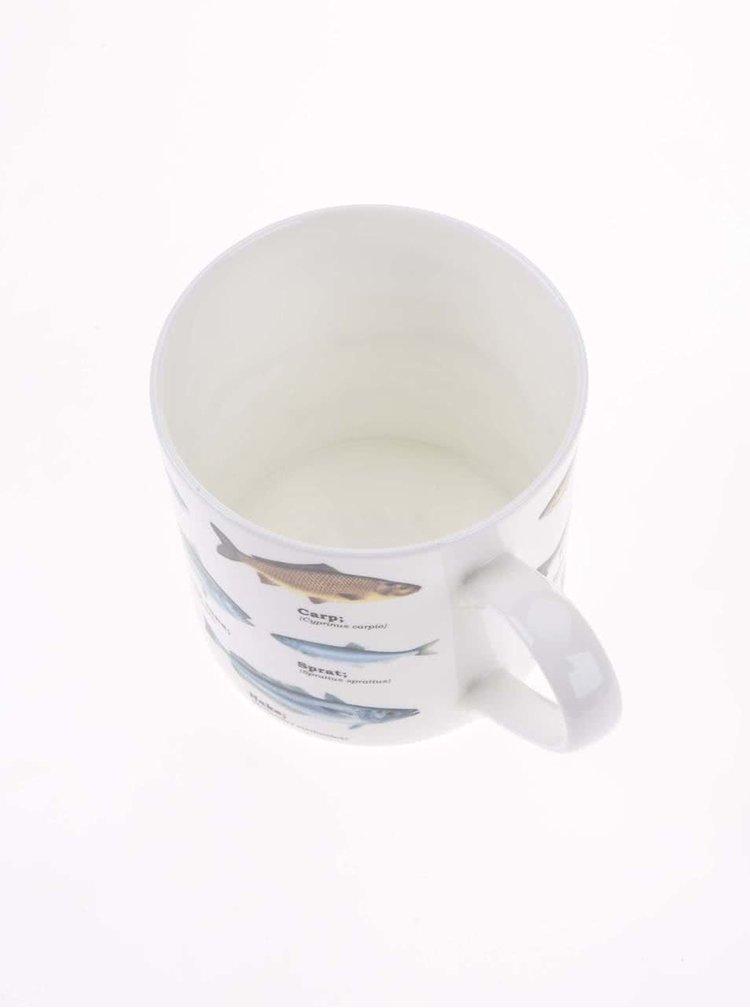 Bílý porcelánový  hrnek s potiskem ryb Gift Republic