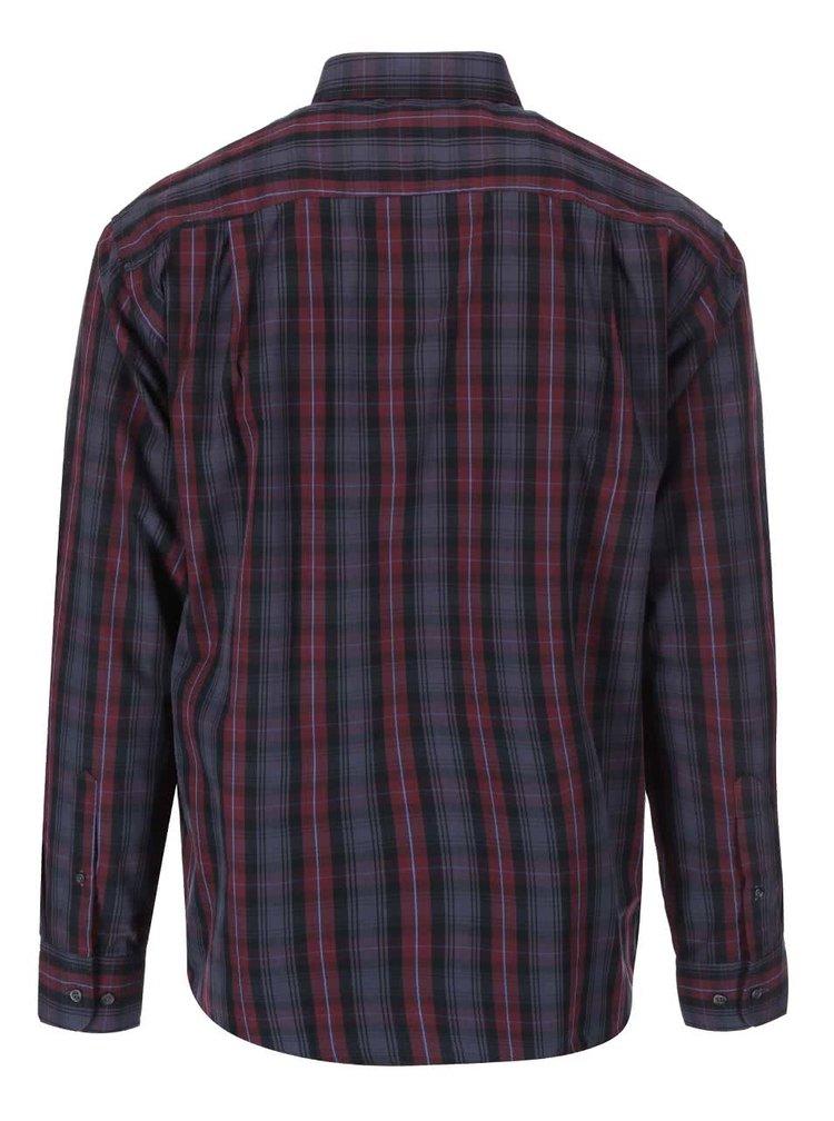 Vínovo-šedá košile s kostkovaným vzorem Jacks