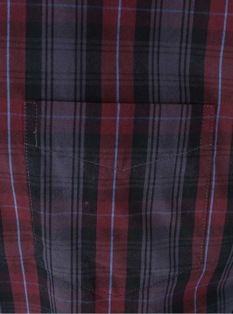Vínovo-sivá košeľa s kockovaným vzorom Jacks
