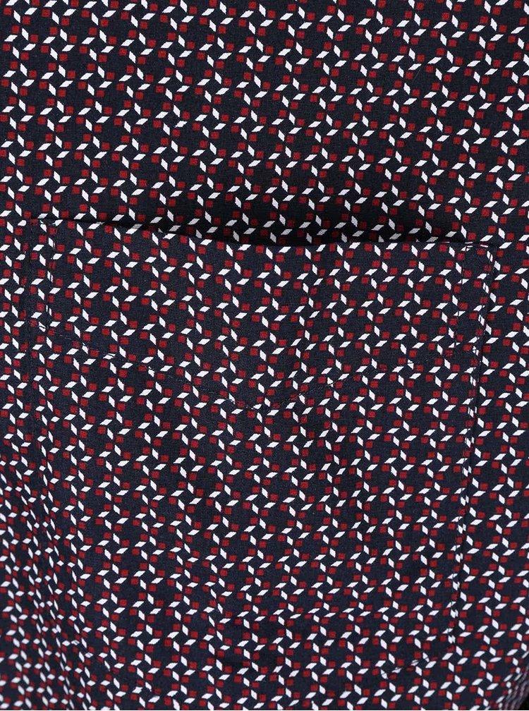 Tmavomodrá košeľa s bielo-červeným vzorkovaním Jacks