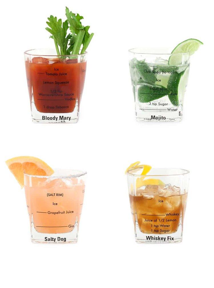 Sada čtyř sklenic s návody na drinky Kikkerland