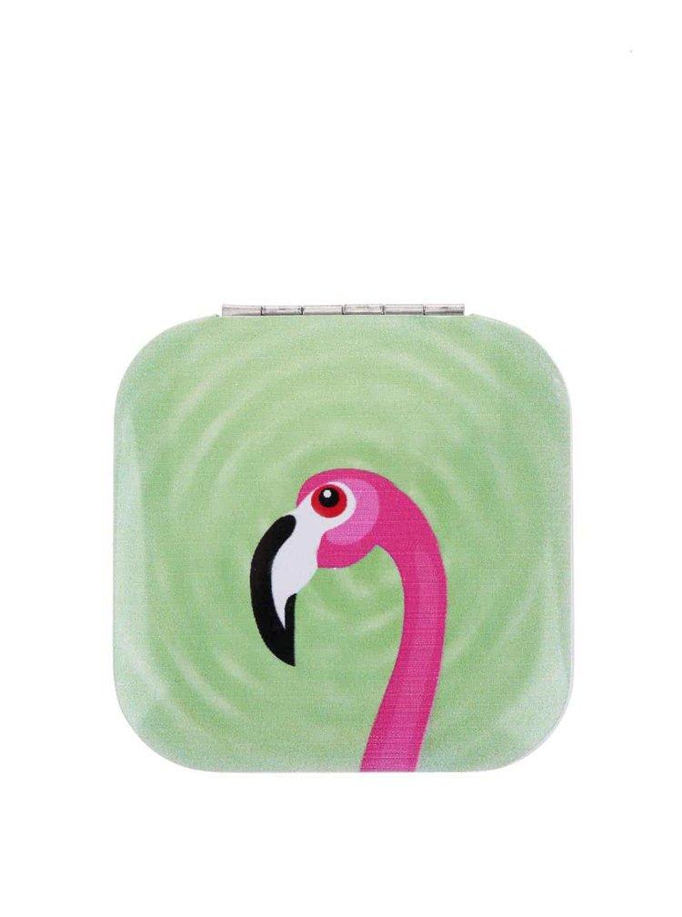 Oglindă compactă KIKKERLAND cu model flamingo - verde