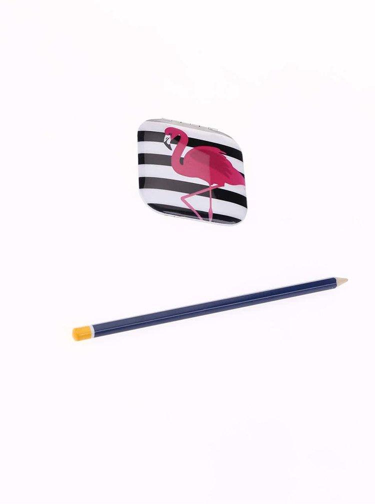 Černo-bílé pruhované kapesní zrcátko s plameňákem Kikkerland