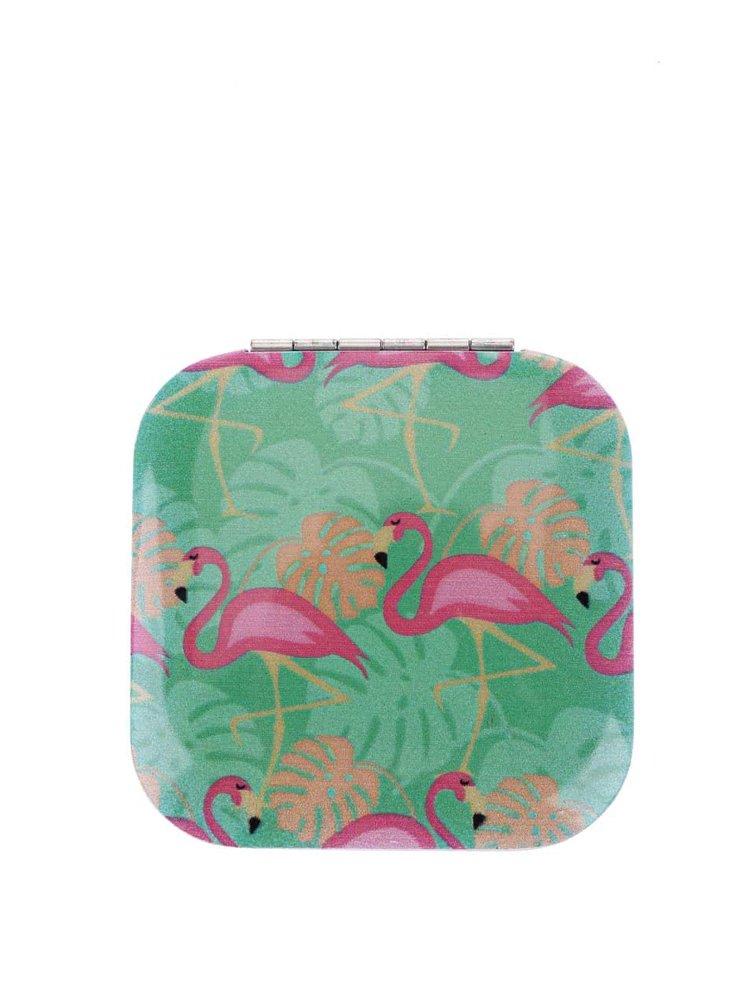 Oglindă compactă KIKKERLAND cu model flamingo - turcoaz