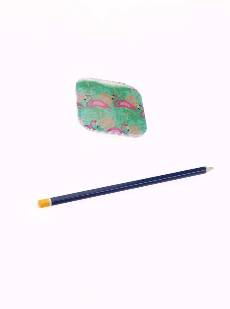 Tyrkysové kapesní zrcátko s motivem plameňáků Kikkerland