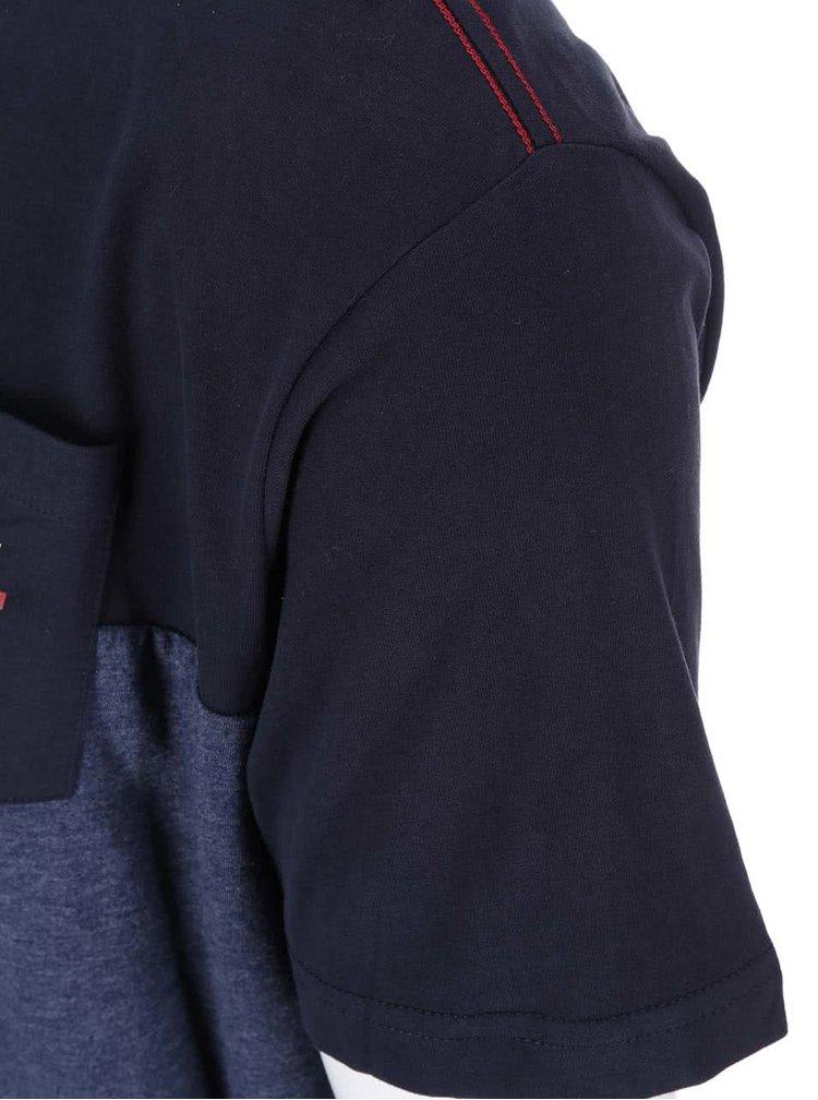 Tricou vargat albastru-negru cu buzunar la piept Jacks