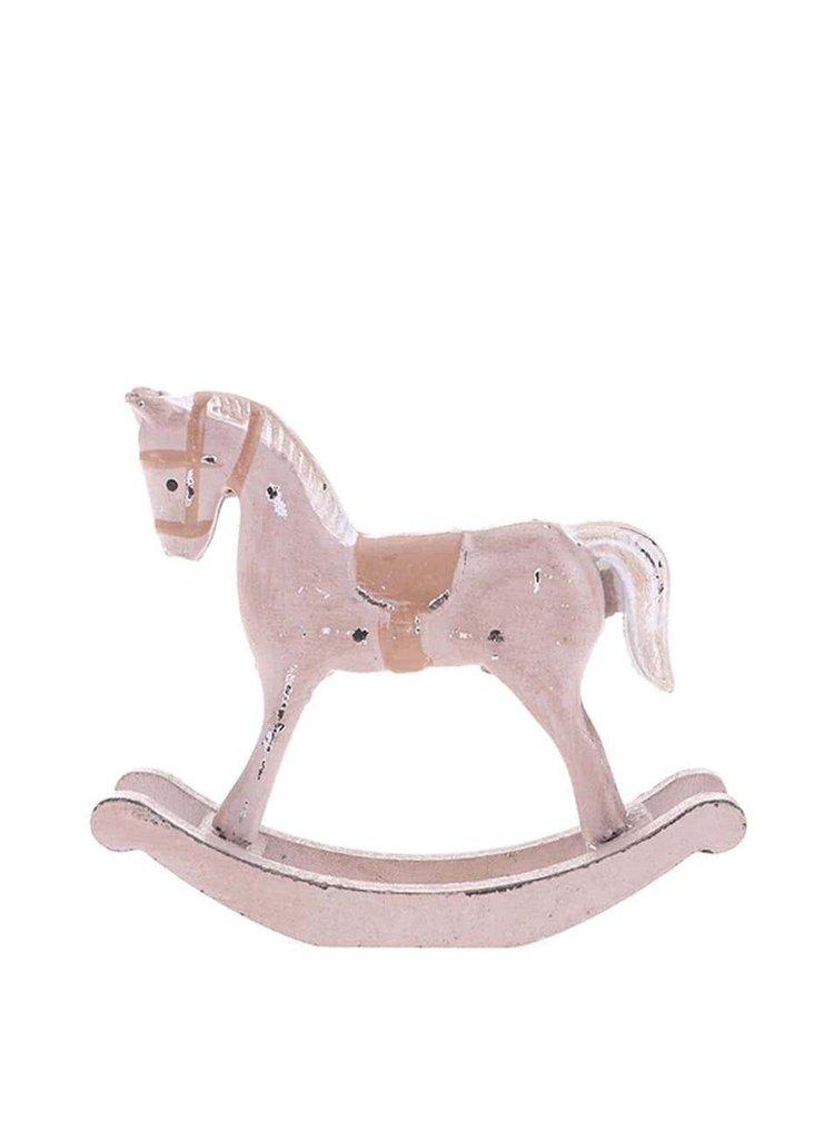Béžový vintage dřevěný houpací koník Dakls