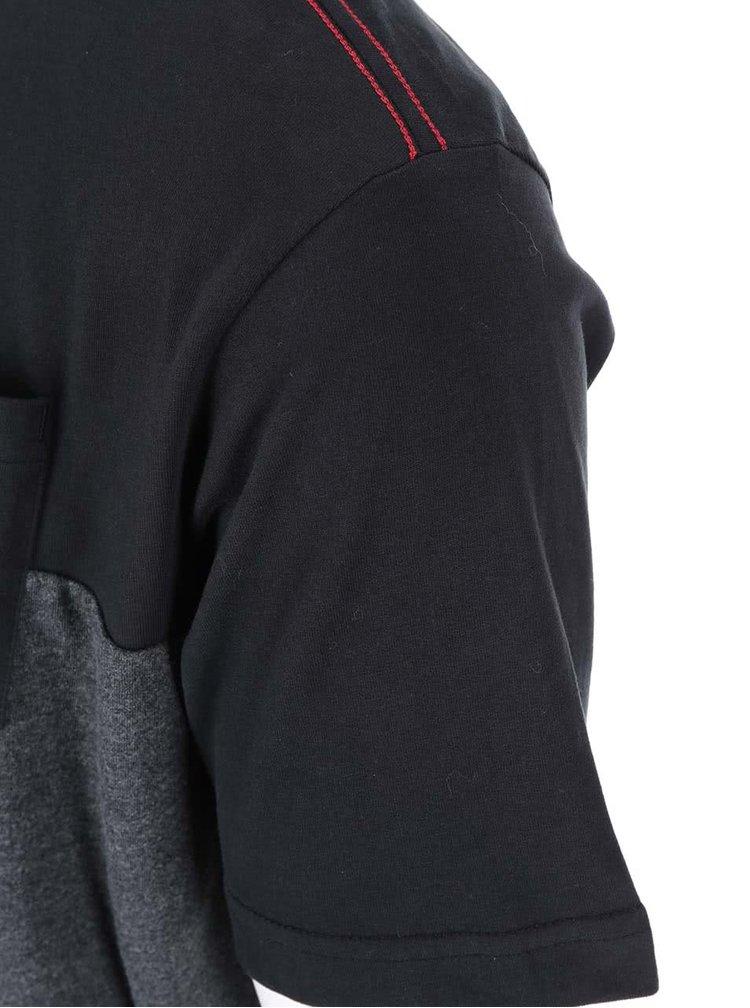 Tricou vărgat gri-negru cu buzunar la piept Jacks