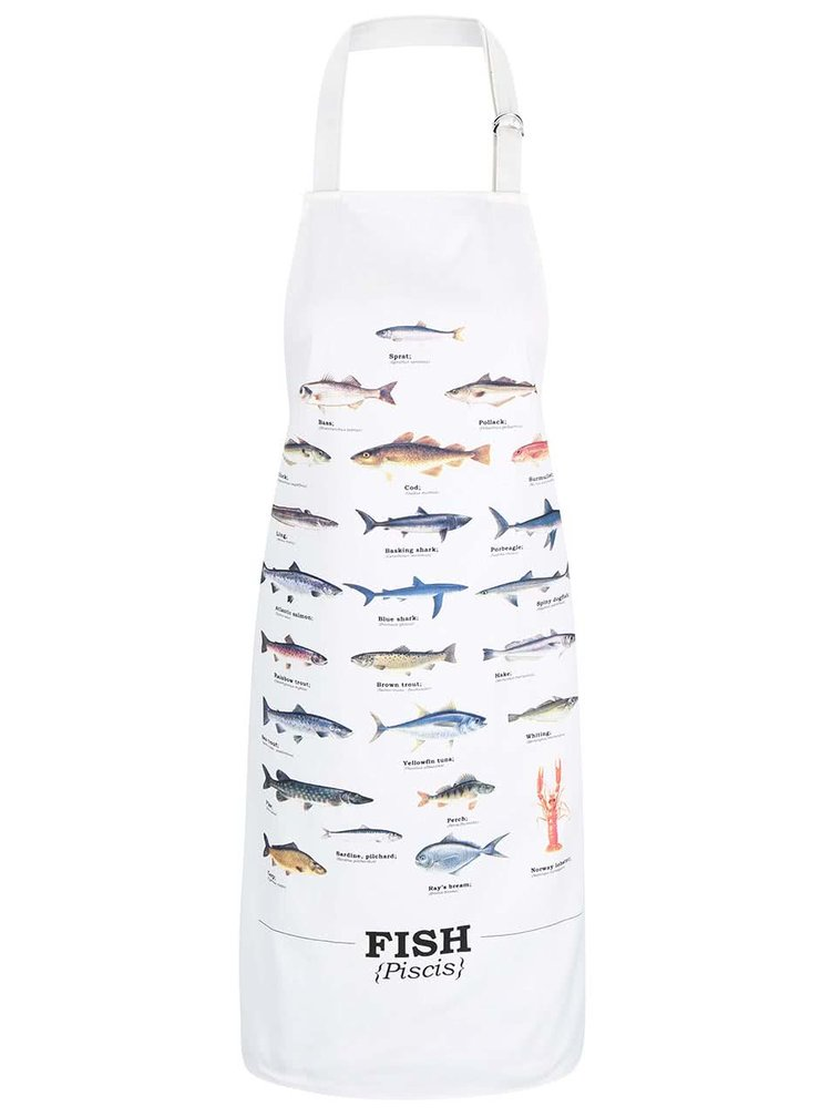 Krémová zástěra s potiskem ryb Gift Republic