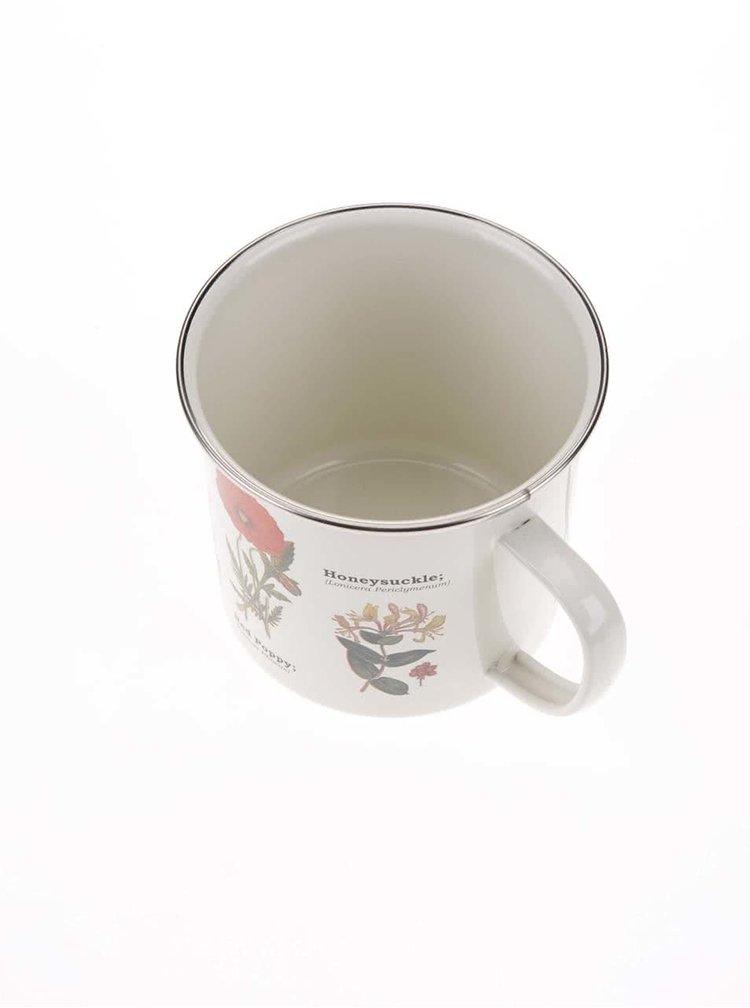 Cană albă smălțuită cu imprimeu floral Gift Republic