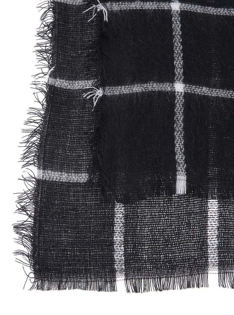 Černá šála s bílými pruhy Haily´s Rechteck