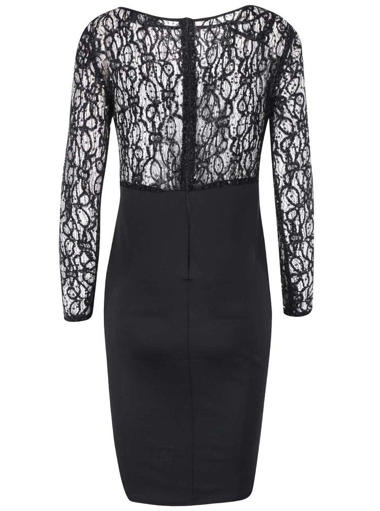 Čierne šaty s čipkovaným vrškom AX Paris