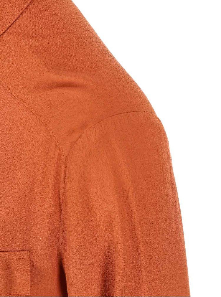 Cihlové košilové šaty s dlouhým rukávem New Look