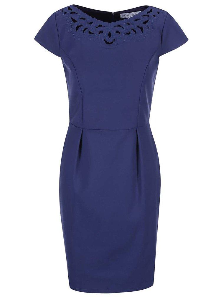 Modré šaty s lodičkovým výstřihem Paper Dolls