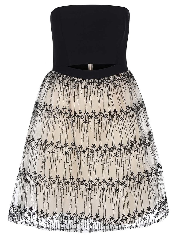 Černo-krémové šaty bez ramínek s květinovou výšivkou Little Mistress