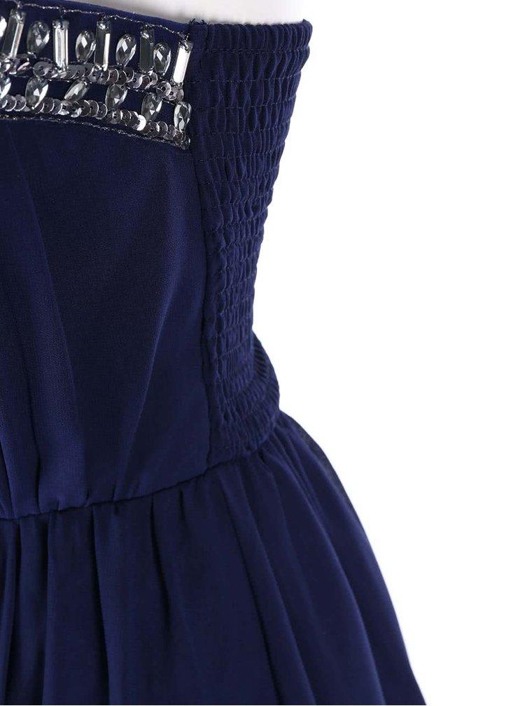 Modré šaty bez ramínek se zdobeným dekoltem Little Mistress
