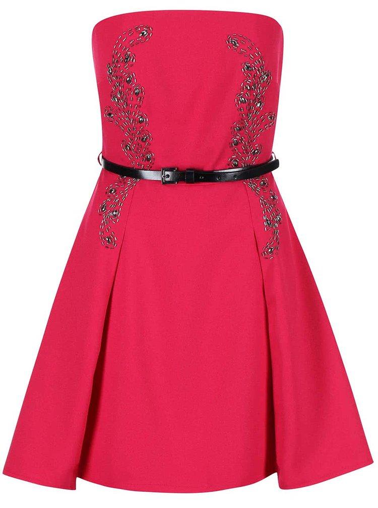 Růžové šaty bez ramínek s páskem Little Mistress