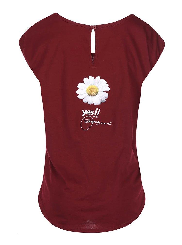 Vínové tričko s květinou Desigual Cotton