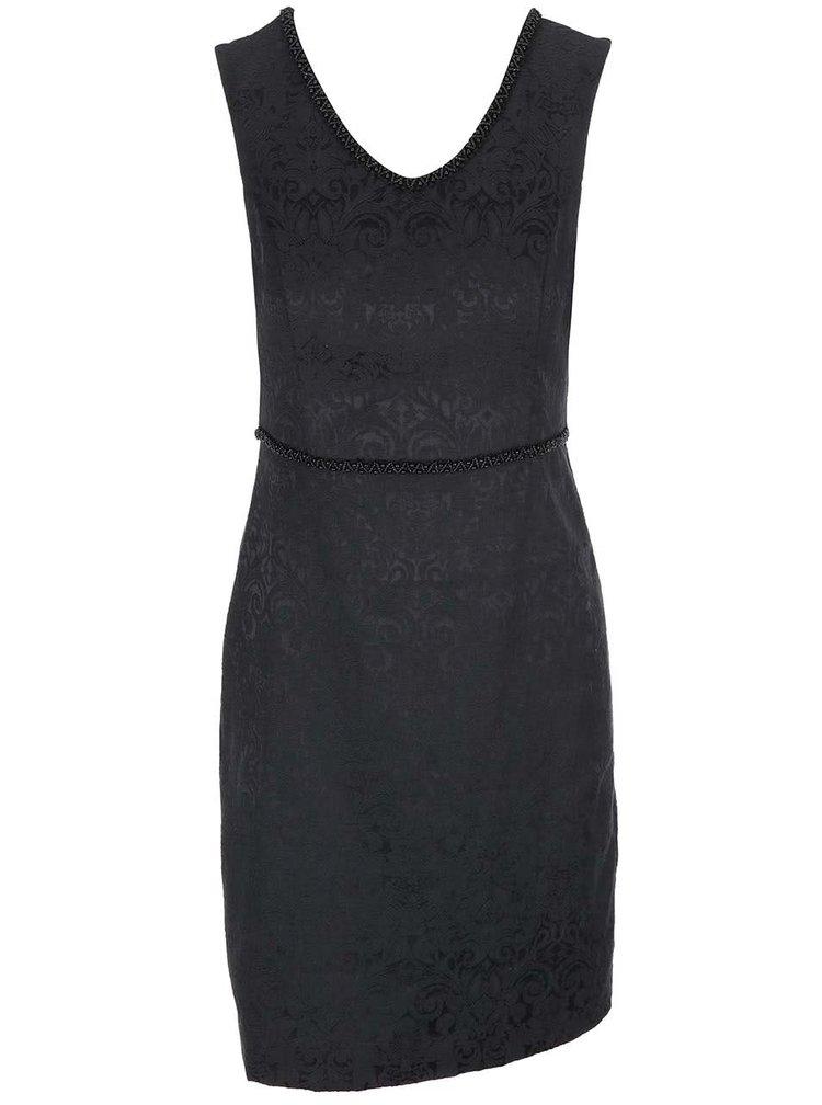 Černé vzorované šaty s korálkovým pasem Fever London